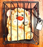 "Vintage ""Lion In A Cage"" Coin Bank ~ With Lock & Key"