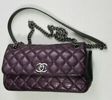 Authentic CHANEL Lady Pearly Purple & Grey Quilted Calfskin Chain Shoulder Bag