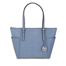 Michael Kors Jet Set Saffiano Leather Zip-Top Tote - Denim