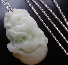 vintage carved chinese jade zodiac animal dragon pendant 925 SILVER necklace D98