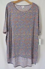 Lularoe Irma Mid Length Sleeves Shirt Gray with Muted Geometric Print 2XL #5251