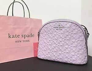 Kate Spade Hollie Spade Clover Geo Emboss X Large Dome Crossbody Lilac New