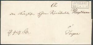 Old Prussia Schildau 13.2.1853 to Torgau, alter Dienstbrief, RARE