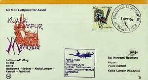 AUSTRALIA 1980 MELBOURNE -SYDNEY -KL-KARACHI-FRANKFURT LUFTHANSA FFC TO MALAYSIA