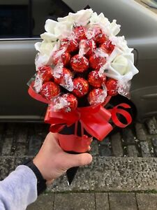 White Roses & Chocolates Bouquet Gift Hamper Any Occassion Birthday Thank you