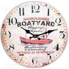 "Retro WANDUHR ""Boat"" Nostalgische Wanduhr Schiff, präz. Quarzwerk Ø 33 cm  NEU!"