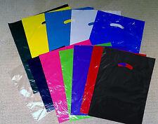 100 15x18x4 Plastic Die Cut Handle Merchandise Retail Party Gift Bag Mixed Color