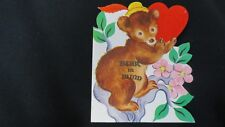 Vintage Bear in Tree Valentine Card c. 1950s by Whitman