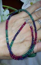 925 Silber Edelstein-Collier Rubin,Smaragd,Safir rhod. 45cm NEU!!!🍀
