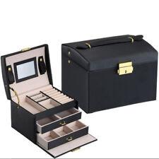 PU Leather Jewelry Box Large Lock Vanity Case Holder Storage Organizer Gift
