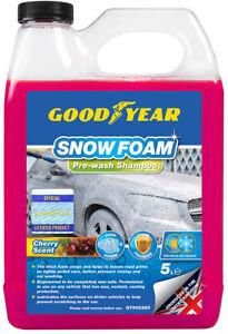 Goodyear Snow Foam Shampoo Car Cherry Scent 5L pH Neutral Wash Wax Soap Kit