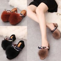 Women Closed Toe Faux Fur Suede Slippers Block High Heels Mules Slip On Shoes Sz