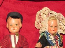 "Charming 1930'S Composition Pair Dutch Dolls 7"" Tall All Original"