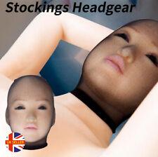 Unisex Fetish Cosplay Bondage Hood BDSM Nylon Sheer Tights Black Blindfold Mask