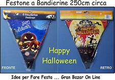 HAPPY HALLOWEEN BANDIERINE FESTONE STRISCIONE 250cm FESTA DJ HORROR PARTY