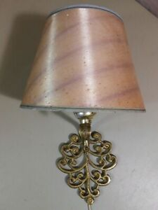 Vintage Wall Light Fixture Cast Metal w/ Shade