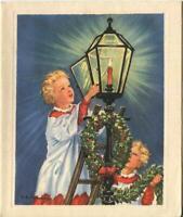 VINTAGE CHRISTMAS BLONDE CHOIR BOYS WREATH GARLAND CANDLE LANTERN GREETING CARD