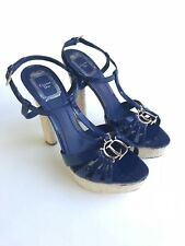 CHRISTIAN DIOR Platform Sandal Patent Leather Blue Heel Size EU 37.5 US 7.5