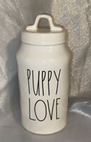 Rae Dunn PUPPY LOVE  Farmhouse Ceramic Pet Dog Treats Canister with Lid NEW