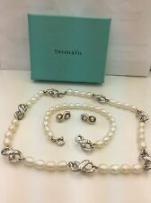 Tiffany & Co Silver Infinite And Pearl Necklace, Bracelet ,And Earrings Set+ BOX