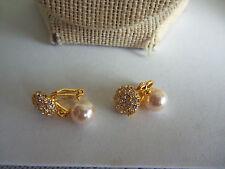 """3/4"""" Long Rhinestone & Faux Pearl Goldtone Clip On Earrings"""