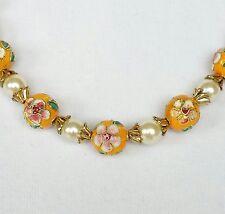 Vintage Womans Neckace Cloisonne Enamel Flower Design Simulated Pearl Beads