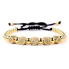 Cz Polygon Handmade Braided Men's Bracelets Men Women Copper Beads Gold Plated