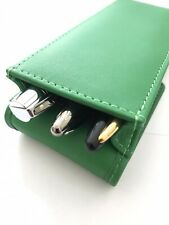 More details for green leather triple leather magnetic pen case pouch hand made real lth