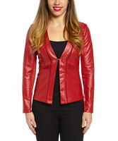 Faux Leather Jacket Size 8 Wine Red Ladies Womens Coat BNWT -1260