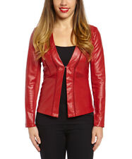 Faux Leather Jacket Size 8 Wine Red Ladies Womens Coat -1260