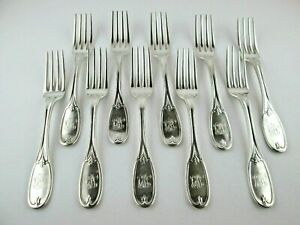 Southern Coin Silver J. E. Spear Charleston 10 Dinner Forks
