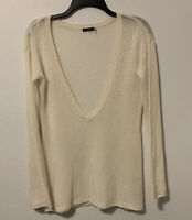 Magaschoni Cashmere Sweater Deep V Neck Size Small Pullover $198 Ivory