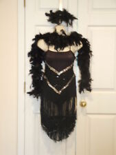 new pkg black silver sequins boa tap jazz fringed dance costume adult large 7-11