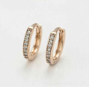 SALE 9K 9ct Gold Filled Stud Sleeper Hoop Huggies Earrings Made w Swaroviski + P