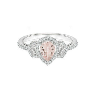 Pear Shaped Morganite 925 Silver 0.70 Ctw Stackable Buckle Ring