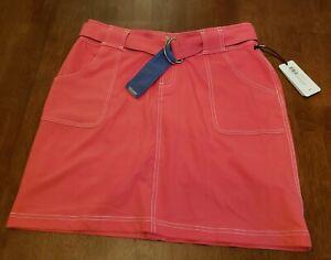 NWT Jofit Ladies Belted Golf Skort Skirt Size 6 GB616-TMO Salmon Pink $90 Retail