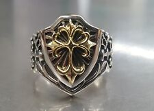 MENS STERLING SILVER  AND 18K GOLD  SHIELD RING