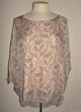 PIAZZA ROMA MADE IN ITALY MS SIZE MEDIUM BEIGE W/ BROWN PRINT 100% SILK BLOUSE