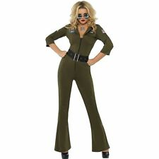 Top Gun Aviator Female Pilot Fighter Army Womens Ladies Fancy Dress Costume