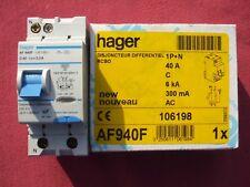 Réf AF940F OU AFC940F DISJONCTEUR DIFFERENTIEL HAGER 1P+N 40A 300mA type AC