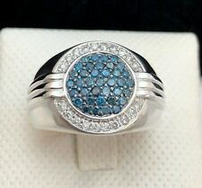 925 Sterling Silver Blue & White Diamond Men's Ring 1 1/7 CTW