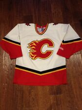Calgary Flames White NHL Hockey Jersey M CCM