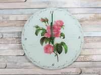 Redoute Rose vintage glass wall clock 30cm