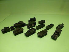 LESNEY LOT 12x MILITARY CARS - ARMY GREEN 1:66? - RARE SELTEN - GOOD CONDITION