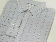 CHARLES TYRWHITT 18-35 Non-Iron Blue Purple Classic Fit Dress Shirt Tartan Plaid
