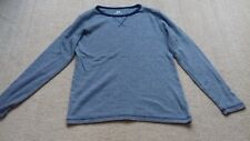 BOYS H&M NAVY BLUE AND WHITE LINED LONG SLEEVE T-SHIRT AGE 10-12 YEARS