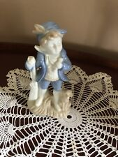 Blue & White Porcelain Figurine of Boy Hunting with his Dog.