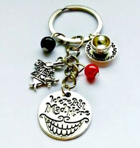 Alice In Wonderland Were All Mad Here Teacup Rabbit Womans Keyring Charm Gift