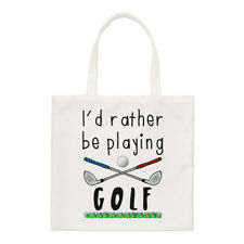 I'd Rather Be Playing Golf Small Tote Bag - Funny Golf Fathers Day Shopper