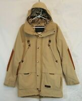 Burton Restricted RA Faceshot Snowboard Jacket Sz L Burlap Tan Trench Fishtail